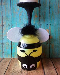 Bumble Bee Wine Glass Candle Holder by CalliopeCreativeArts on Etsy