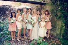 mismatched bridesmaids in neutrals & muted tones