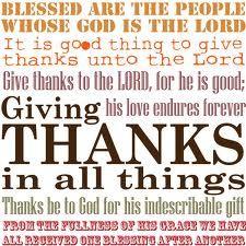 Giving Thanks Unto God