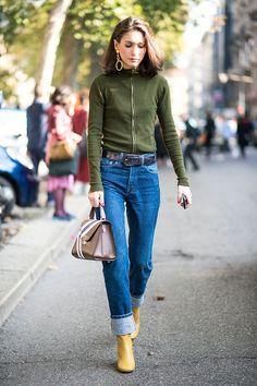 Calça jeans mom Bota Blusa turttle neck