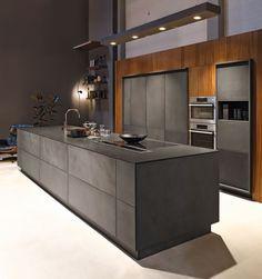 KH Küche: Beton Anthrazit / Nussbaum furniert KH kitchen: concrete anthracite  / walnut veneered