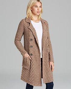 Chunky yarn tan cardigan coat