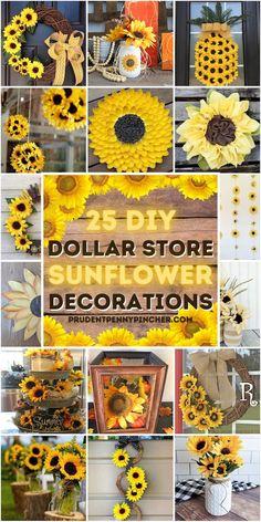 Rustic Sunflower Centerpieces, Sunflower Wall Decor, Sunflower Crafts, Sunflower Wreaths, Sunflower Decorations, Diy Centerpieces, Sunflower Kitchen Decor, Decoration Christmas, Diy Halloween Decorations