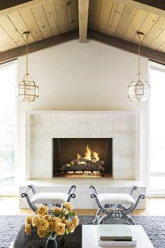 Step Inside a Mid-Century Home With Summer Style | Decorist Circa lighting Morris lantern fireplace