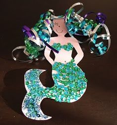 Mermaid Craft - I love the ribbon for hair!