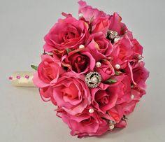 READY TO SHIP pink Roses Rhinestones Bridal Bouquet flower bouquet plus Groom's Boutonnire  Silk Flower Wedding Bouquet - medium 8 inches