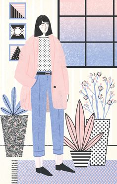 grain editAbbey Lossing - - Abbey Lossing is a Brooklyn based illustrator who crafts charming drawings and animated gifs full of lively characters and whimsical narratives. Her pastel color palettes and playful use of halfton…. Art And Illustration, People Illustration, Pattern Illustration, Illustrations And Posters, Character Illustration, Animal Illustrations, Drawn Art, Poster S, Grafik Design