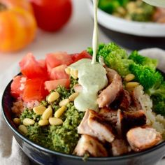 Pesto Broccoli, Avocado & Chicken Bowl with Ranch | Real Food with Dana