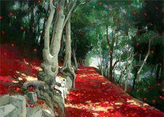 엄윤영-산사… Landscape Paintings, Landscapes, Oil On Canvas, Illustration, Image, Acrylics, Paintings, Projects, Paisajes