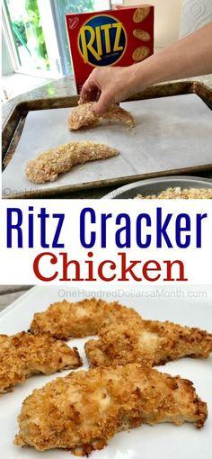 Easy Chicken Recipes - Ritz Cracker Chicken - One Hundred Dollars a Month - - Easy Chicken Recipes – Ritz Cracker Chicken – One Hundred Dollars a Month Ritz Crackers Einfache Hühnchenrezepte – Ritz Cracker Chicken – Hundert Dollar pro Monat Recipe For Ritz Cracker Chicken, Easy Chicken Dinner Recipes, Ritz Cracker Recipes, Ritz Cracker Chicken Casserole, Chicken With Ritz Crackers, Easy Meals For Dinner, Dinner Healthy, Easy Main Dish Recipes, Cooked Chicken Recipes