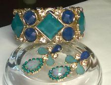 Navy, Turquoise & AB Gold Stone Bracelet & Earrings Set in Goldtone Metal