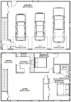 40x28 3 Car Garages 1136 Sq Ft PDF Floor By ExcellentFloorPlans. Carriage  HouseCar ...