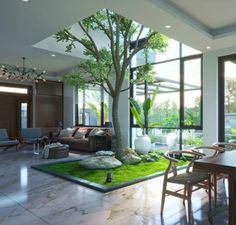 Singaporean Office Garden An award-winning interior garden created by Tierra Design / POD for a building in Singapore's Central Business District. Patio Interior, Interior Design Living Room, Interior And Exterior, Tree Interior, Modern Interior, House Paint Interior, American Interior, Mansion Interior, Natural Interior