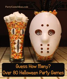 Halloween party games! Over 80 party game ideas from http://partygameideas.com including kids party games, gross games for teens, Halloween games for the office and more. Most Halloween games are diy or can work with Halloween props and decorations.