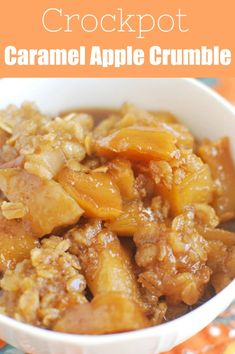 Slow Cooker Caramel Apple Crumble is a delicious fall dessert recipe! Cinnamon apples topped with a crumbly oat mixture – and it's made in the crockpot so it is super simple! Healthy Crockpot Recipes That You Can Make In A Slow Cooker. Crockpot Dessert Recipes, Crock Pot Desserts, Fall Dessert Recipes, Fall Recipes, Gourmet Recipes, Healthy Recipes, Apple Crockpot Recipes, Autumn Recipes Slow Cooker, Crockpot Drinks