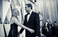 Kate Winslet greets Leonardo DiCaprio on the red carpet. by theacademy Leonardo And Kate, Kate Winslet And Leonardo, Leonardo Dicaprio Kate Winslet, Kate Winslet Oscar, United Artists Theater, Then And Now Pictures, Leo And Kate, Celebs, Celebrities