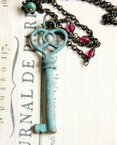old skeleton key & beads necklace from rafya #etsy $27