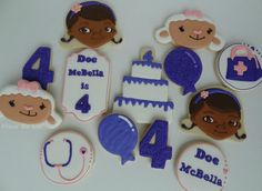 Custom Doc McStuffins Cookies, via Etsy. Wish I was this good with icing!