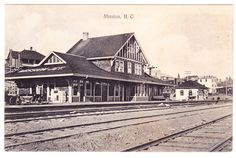 Postcard view of the train station at Mission City circa Canada Rail, Fraser Valley, New West, Old Buildings, Vancouver Island, History Facts, Historical Photos, British Columbia, House Styles