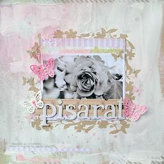 (Anski) Masked + gessoed kraft background with pink accents. #12x12