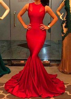 Round Neck Floor Length Red Mermaid Dress