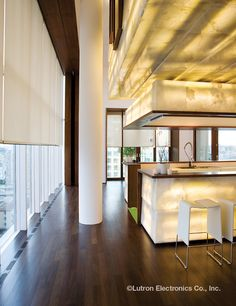 Lutron Lighting for contemporary kitchen and living room - How to make your Home Smart AND Sexy Luxury Kitchen Design, Best Kitchen Designs, Motorized Shades, Motorized Blinds, Modern Window Treatments, Honeycomb Shades, Atlanta Homes, Curtains With Blinds, Home Automation