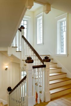 Windows in stairway Stair tower - traditional - Staircase - Burlington - Smith & Vansant Architects PC Railing Design, Staircase Design, White Staircase, Staircase Diy, Staircase Landing, Staircase Handrail, Stair Design, Indoor Railing, Traditional Staircase