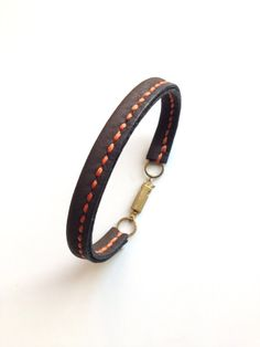 Leather Bracelet for Men / Women with brass hook clasp - Hand Stitched on Etsy