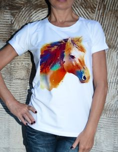 Unique Horse Printed Cotton T-shirt / High Quality by Cotton9