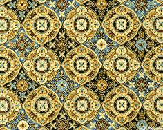 Florence - Pitti Palace Medallion - Black/Gold, 'Florence' collection by Hoffman Fabrics.