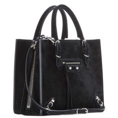 Balenciaga Mini Papier A4 Zip-Around Suede Shoulder Bag