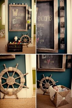 Lickiss - I think you might need a ship's wheel in your map living room! Boy Nursery Colors, Baby Boy Nursery Themes, Baby Boy Rooms, Baby Boy Nurseries, Nursery Ideas, Nursery Boy, Room Ideas, Themed Nursery, Kids Rooms