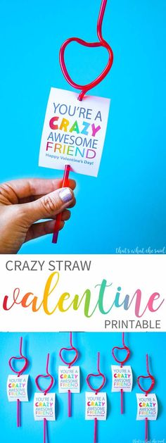 Crazy Straw Valentine Cards! A Perfect Non-Candy Idea for Class Parties and more! Get your free download here!