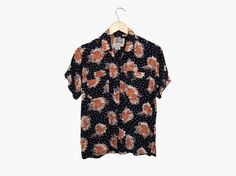 Polka Dot & Sunflower Print Shirt, Vintage c. 1990s