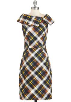 You Give Love a Plaid Name Dress. Make an electrifying statement in this lovely plaid frock. #gold #prom #modcloth