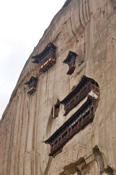 The Hanging Temple, also Hanging Monastery or Xuankong Temple. Mount Heng in Hunyuan County, Datong City, Shanxi province, China.