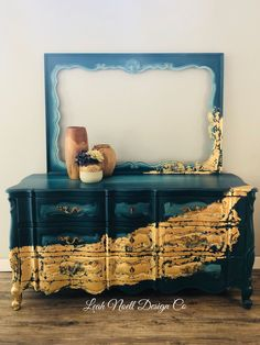 Leah Noell Design Co | Leah Noell Design Co - gold blue green - painted dresser #paintedfurniture