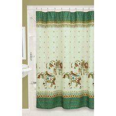 Bacova Boho Elephant Fabric Shower Curtain