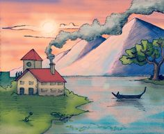 House, Chimney smoke, Boat, Tree, River, Distant Mountains, Clouds and Setting Sun - The perfect recipe for a no reason simple evening Scenery. Drawn on paper, colored in Picsart Smoke Drawing, Sun And Clouds, Paper Toys, Picsart, Over The Years, My Drawings, Scenery, Template, Boat
