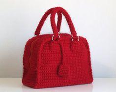Bolso rojo en ganchillo hecho a mano con ganchillo, bolsa estilo vintage