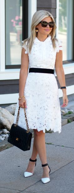 Black & white Midi Dress