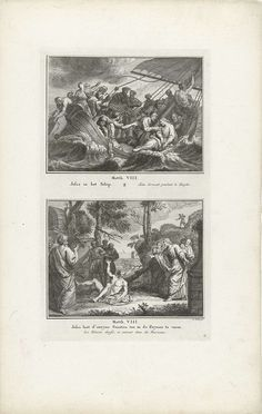 Simon Fokke | Slapende Christus op een schip tijdens de storm en Christus staat duivels toe in wilde zwijnen te varen, Simon Fokke, 1791 | Twee Bijbelse voorstellingen uit Mat. 8. Genummerd rechtsonder: 13.