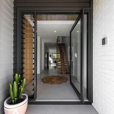 Main Entrance Door Design, Front Door Entrance, House Entrance, Entry Doors, Front Doors, Modern Entry Door, Pivot Doors, Timber Front Door, Grand Entrance