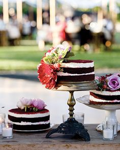 "See the ""Totally Visible"" in our 16 Naked Cakes for Your Wedding gallery Whimsical Wedding Cakes, Amazing Wedding Cakes, Amazing Cakes, Pretty Cakes, Beautiful Cakes, Cupcakes, Cupcake Cakes, Red Velvet Wedding Cake, Velvet Cake"