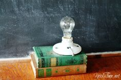 Knick of Time shows you how to make a great lamp using some vintage books and a porcelain ceiling fixture.