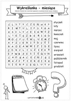 Wykreślanka – miesiące - Printoteka.pl English Fun, English Class, Teaching English, Days And Months, Months In A Year, Clothes Words, Ninjago Coloring Pages, Learn Polish, English Activities