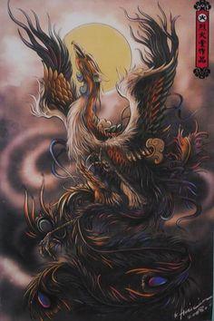 Body Art Tattoos, Sleeve Tattoos, Crow Tattoos, Ear Tattoos, Japanese Phoenix Tattoo, Japanese Tattoos, Symbols Of Strength Tattoos, Phoenix Tattoo Design, Tattoo Phoenix