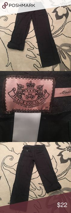 """Juicy Couture charcoal/ black 100% linen pants Juicy Couture charcoal/ black 100% linen pants. Can be worn as a pant  and also rolled and buttoned as a capri size medium 32"""" inseam Juicy Couture Pants"""