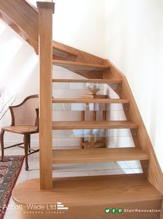 Open Tread Oak Staircase With Glass Down Stands