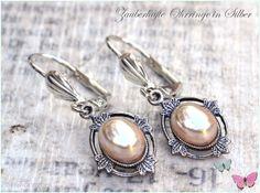 Ohrhänger - Art Deco Vintage Ohrhänger oval Silber weiß creme - ein Designerstück von Zauberhafte-Ohrringe-in-Silber bei DaWanda